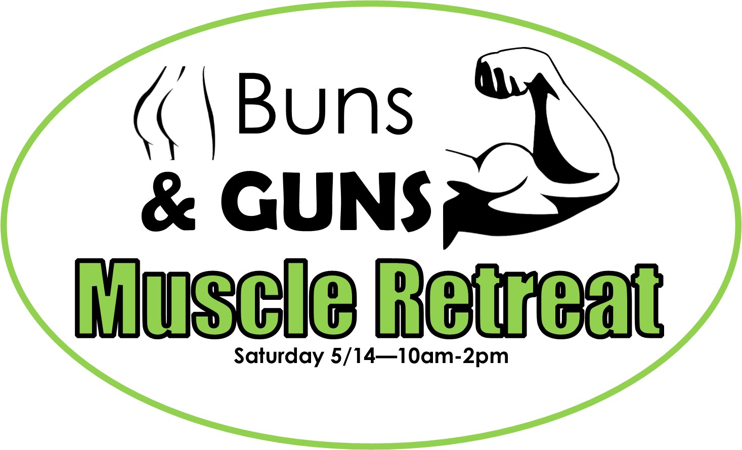 Buns and Guns muscle retreat work out logo
