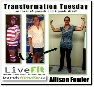 Allison lost 28 pounds transformation tuesday success boot camp story madness