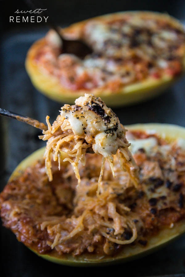 Spaghetti Squash Lasagna Bowls (indulgent and savory)