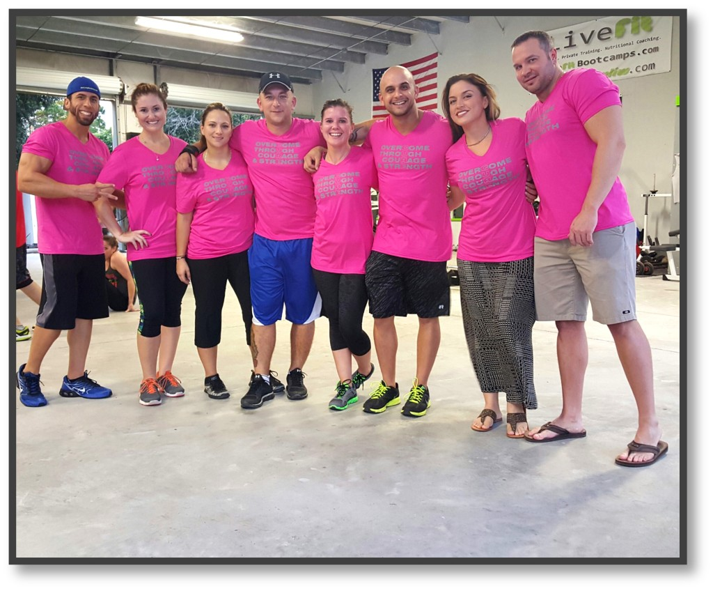 Live Fit boot camp fundraiser t shirt fight cancer front