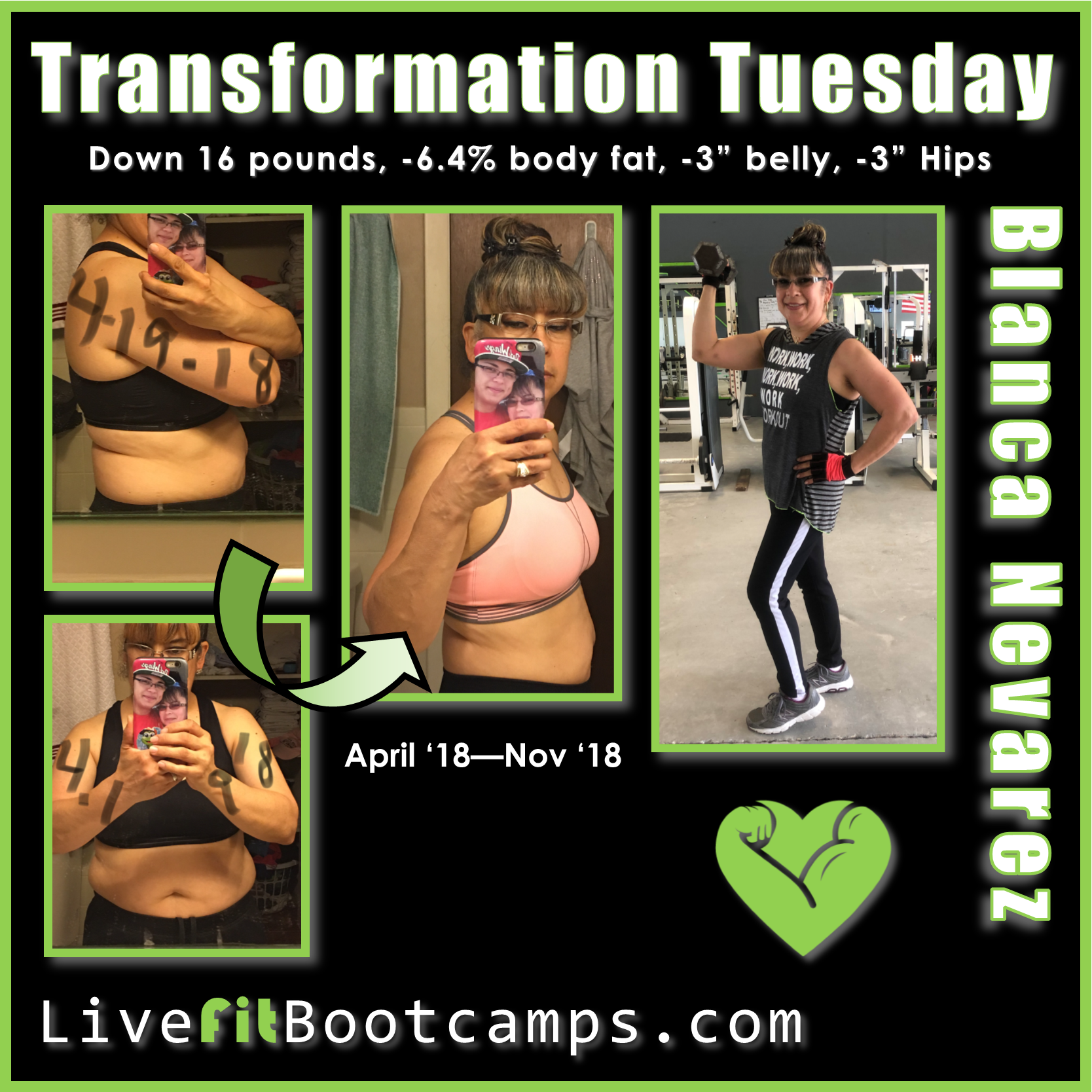Blanca transformation tuesday weigt loss bootcamp