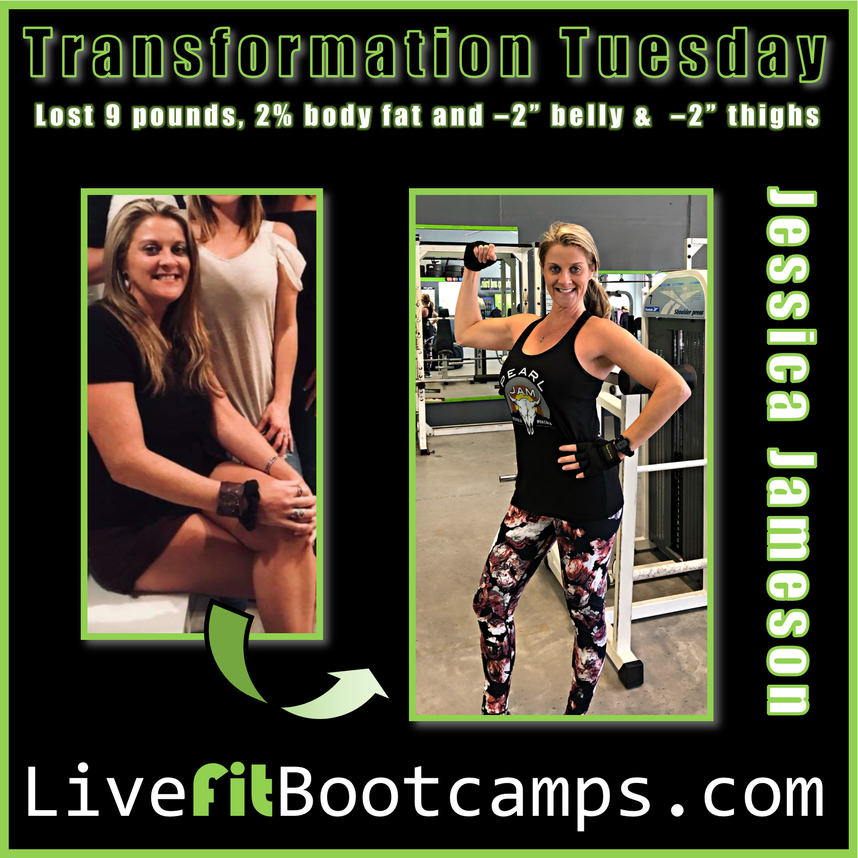 Jessica transformation tuesday live fit boot camp