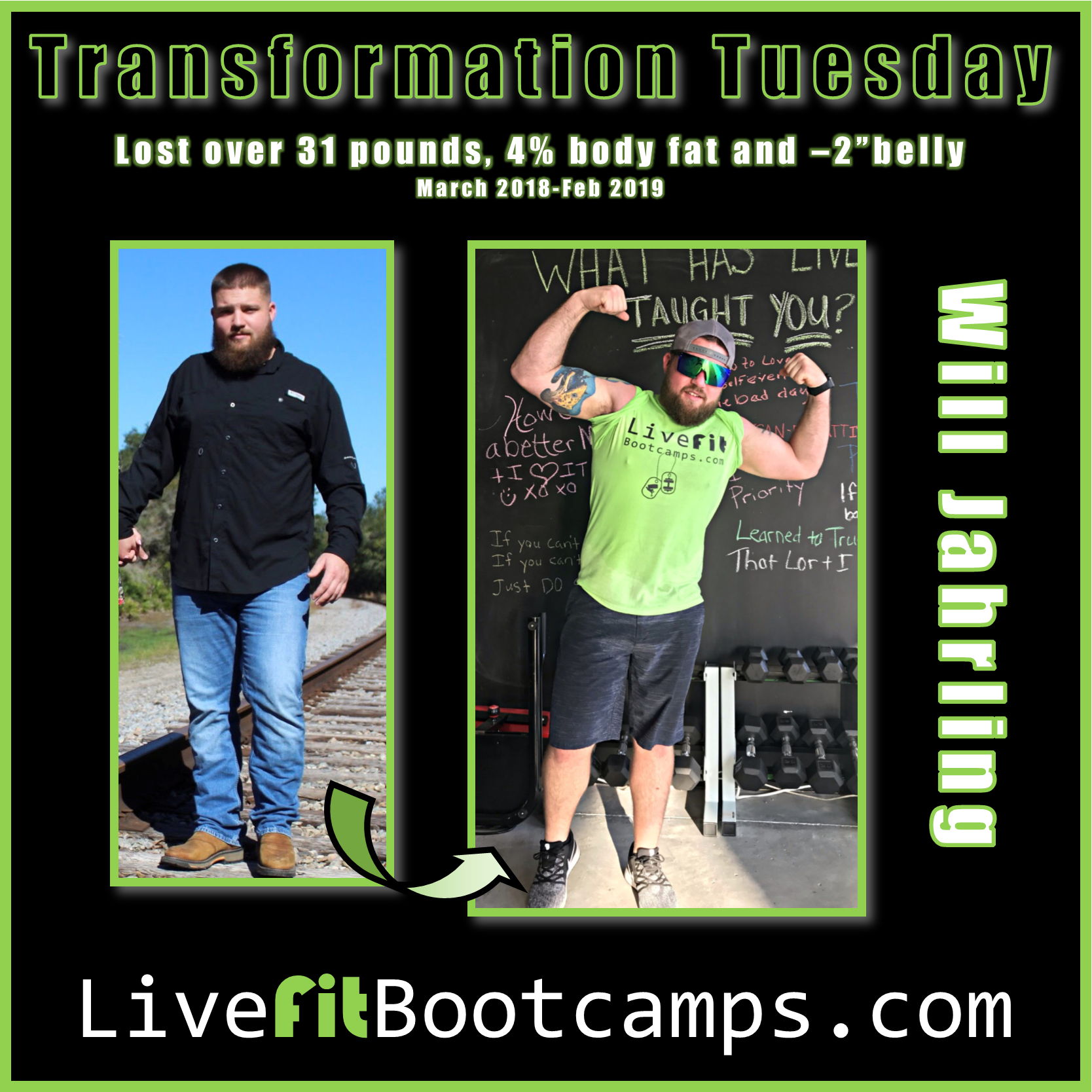 Will transformation tuesday success bootcamp weight loss fat burn