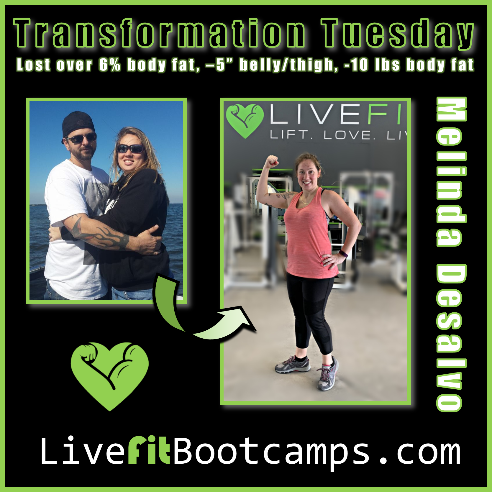 transformation tuesday melinda live fit boot camp