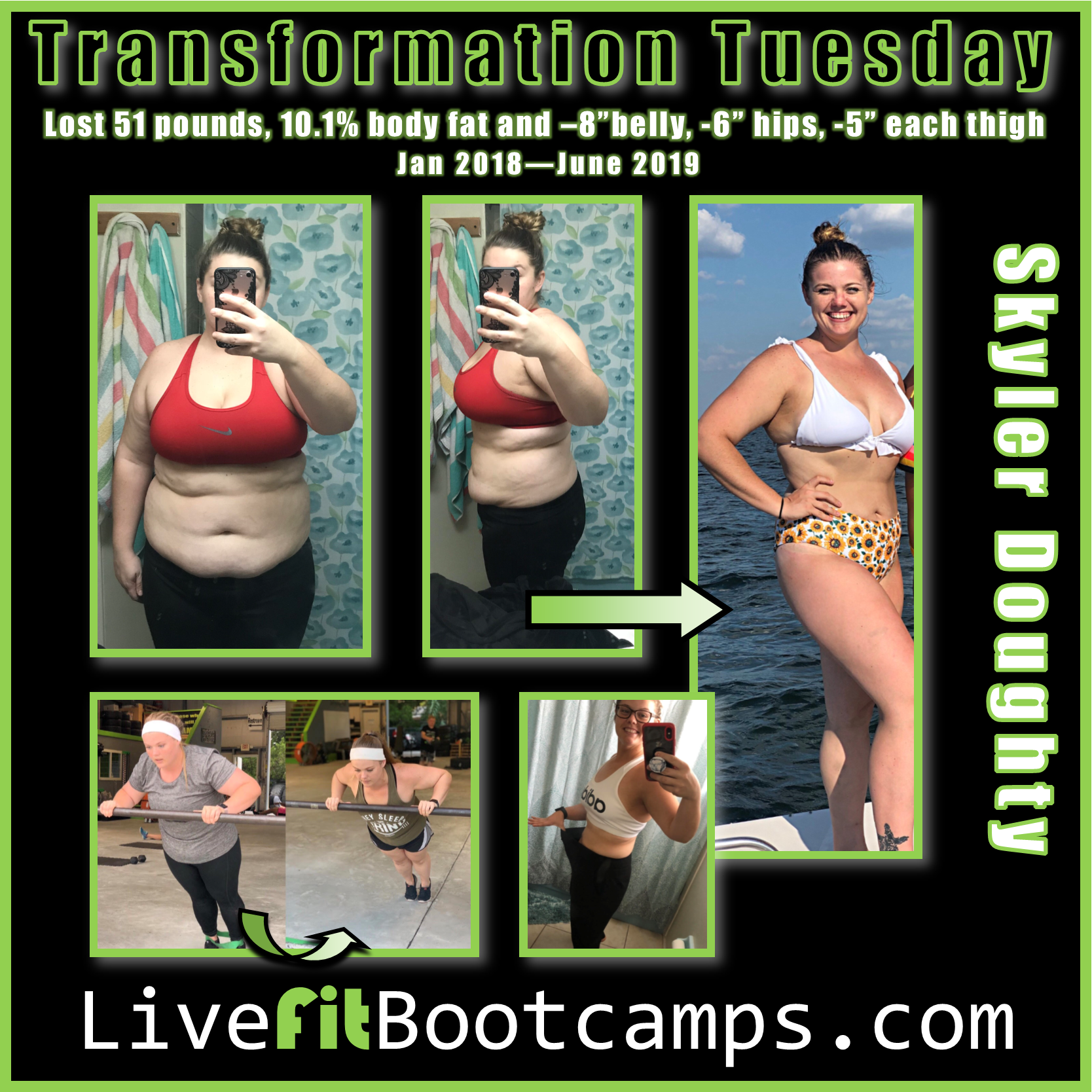 Skyler transformation tuesday fitness bootcamp livefit