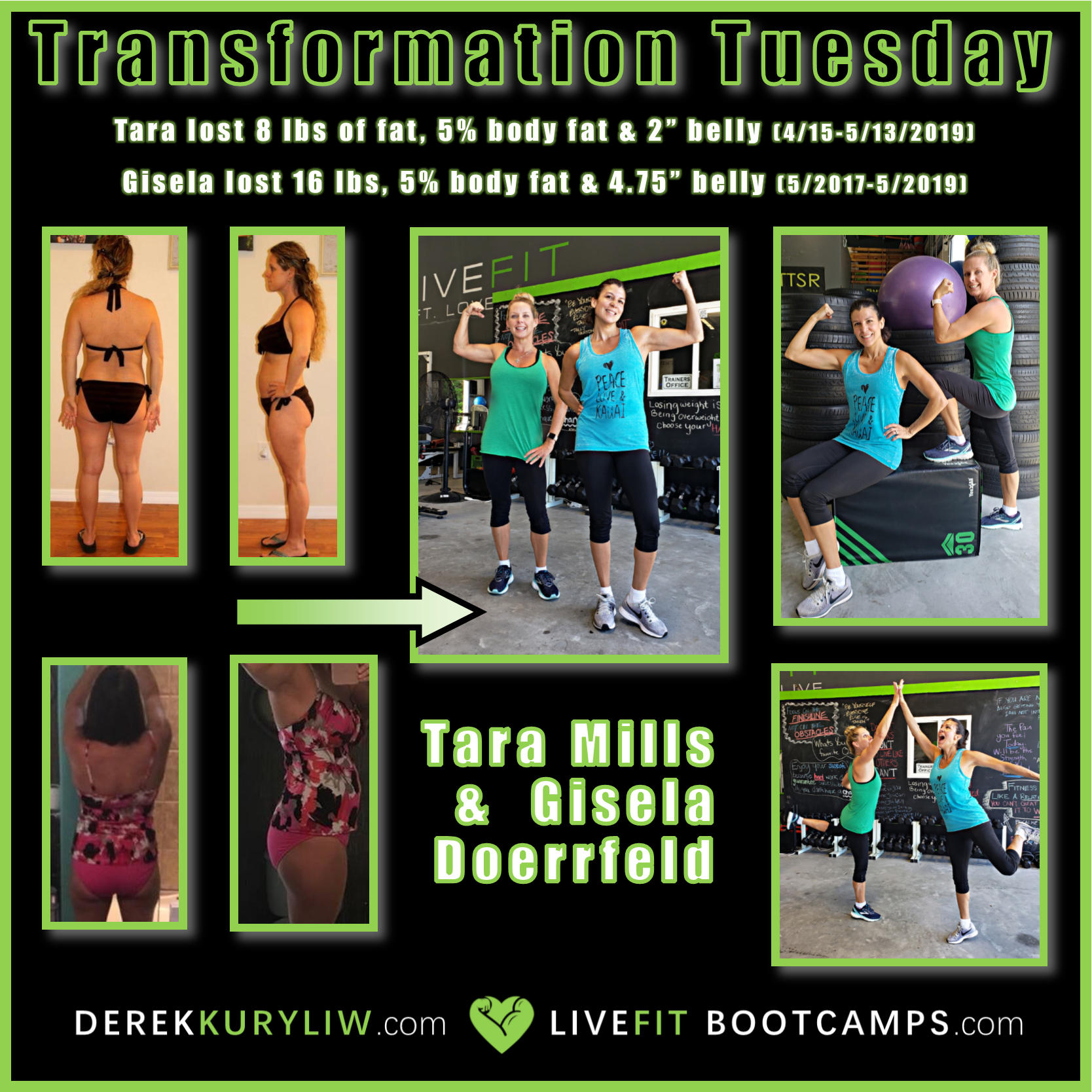 Gisela Tara transformation tuesday mom fitness white