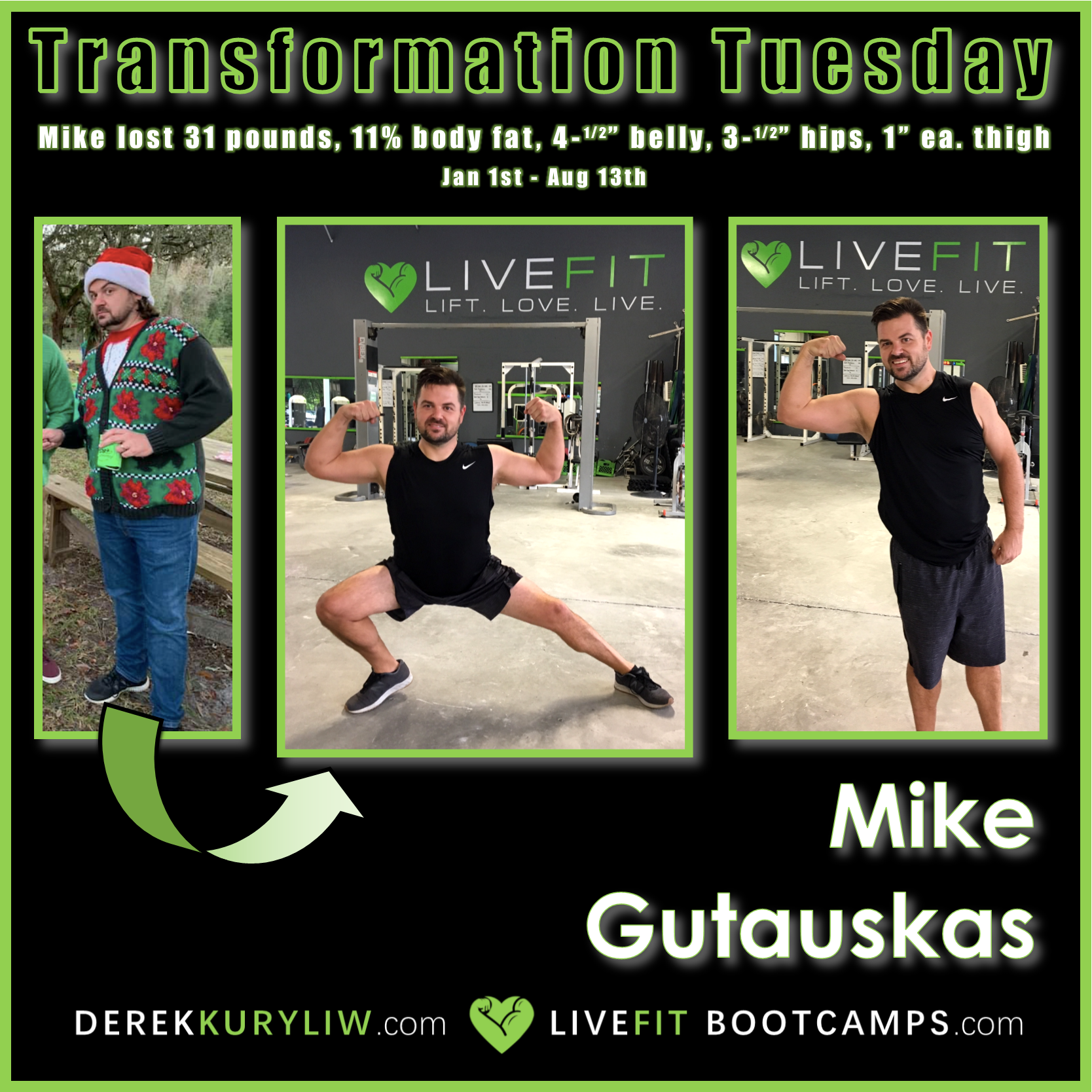 Mike before after dad fitness bootcamp weightloss